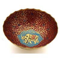 MFA-908, Elephant Round Meena Bowl-a