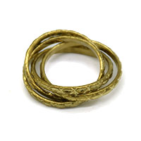 4 Rows Design Casting Gold Plated Finger Ring