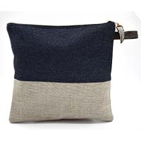 MBaA-1902,Colorblock Upcycled Jean Wristlet-Blue-a