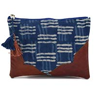 MBaA-1904,Block Print & Leather Pouch-a