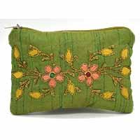 MBaA-1908,Zari Thread Green Wallet-a
