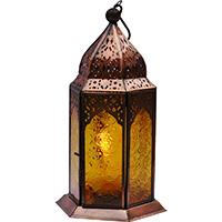 Jali Copper Mehfil Mustard Glass Candle Lantern