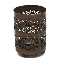 Double Small & Big Jali Copper Glass Tea Light Holder