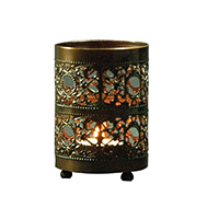 MCA-1111, Double Small & Big Jali Copper Oxodise Glass Tea Light Holder a