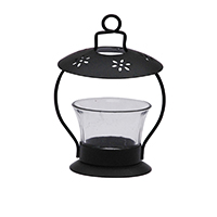 MCA-1115A, Sea Hut Black Candle Stand with Glass a