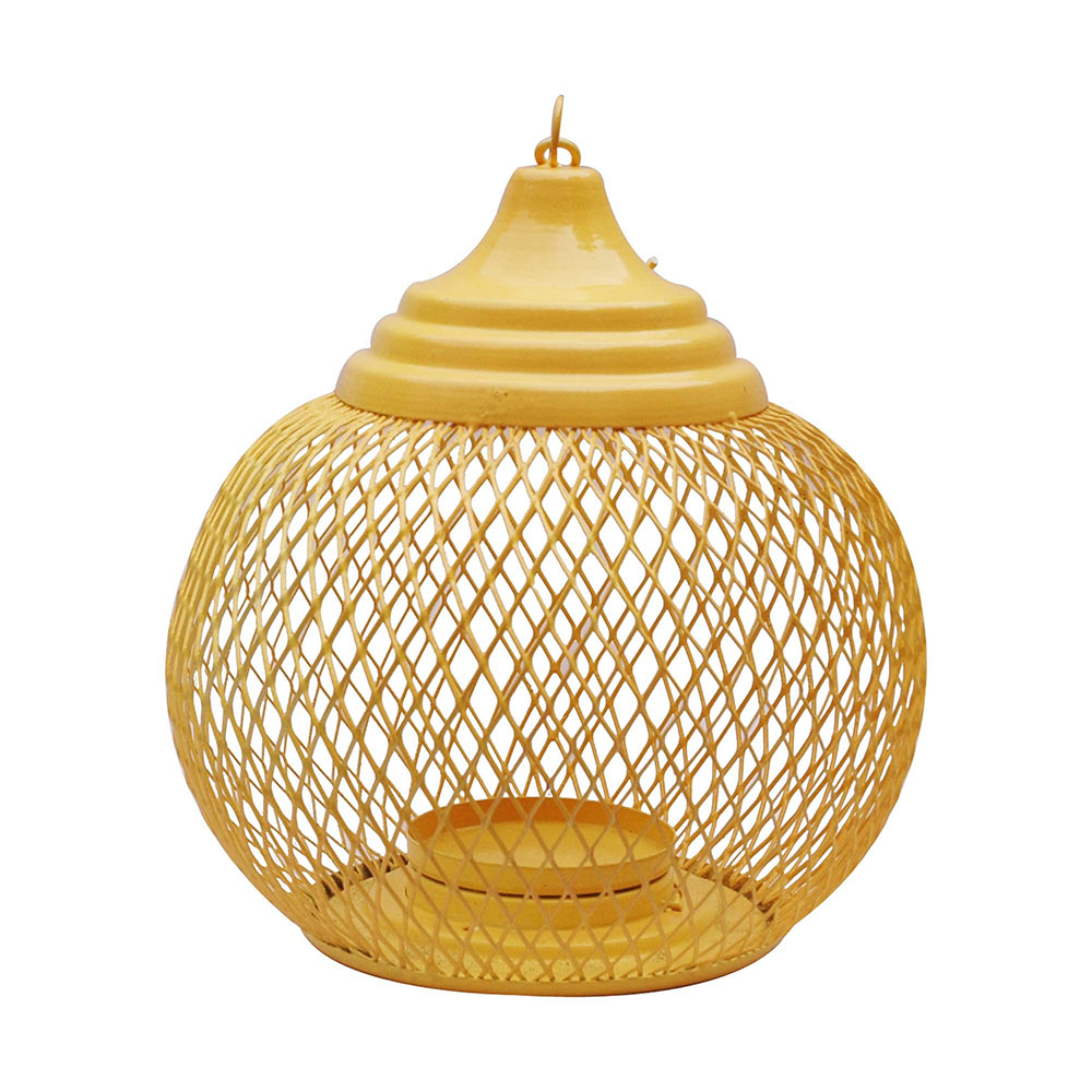 Big Yellow Jali Wire Parrot Cage Tea Light Holder