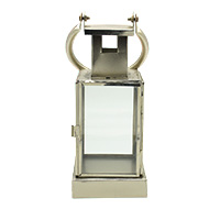 Western Silver Plated White Transparent Glass Lantern