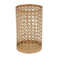 Jali Cut Copper Medium Glass Tea Light Holder