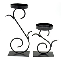 Wrought Black Iron Candle Stand