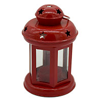 Star Simple Red Small White Glass Lantern