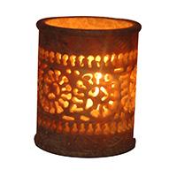 MCA-1142,Stone Flower Work Glass Tea Light Holder a