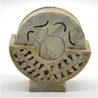 MCoA-1703,Elephant Stone Coasters-Set of 6-a