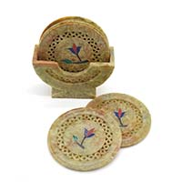 MCoA-1704,Flower Stone Coasters1-Set of 6-a