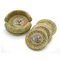 MCoA-1705,Flower Stone Coasters1-Set of 6-a
