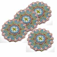 MCoA-1709,Embroidered Coasters-Blue-Set of 4-a