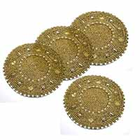 MCoA-1712,Seed Beads Hand Embroidered Coasters1-Golden-Set of 4-a