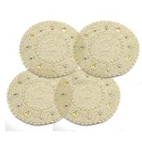 MCoA-1713,Seed Beads Hand Embroidered Coasters1-White-Set of 4-a