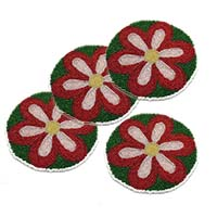 MCoA-1714,Flower Hand Embroidered Coasters-Set of 4-a