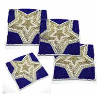 MCoA-1716,Star Hand Embroidered Coasters2-Set of 4-a