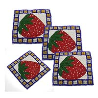 MCoA-1717,Strawberry Hand Embroidered Multi Beads Coasters2-Set of 4-a