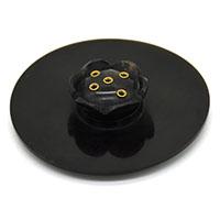 MIA-2104,Round Incense Holder-Black-a