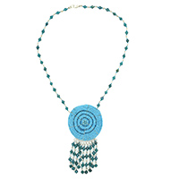MNA-104,Turquoise Seed Glass Necklace with Hangings a