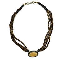 MNA-106,Antique Brown Bone Pandle Necklace a