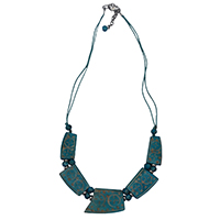 MNA-1101,Turquoise Carving 5 Pieces Bone Thread Silver Tone Necklace,Nickel Free-a