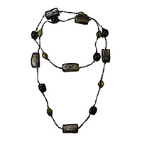 MNA-110A,Black Smoke & Black Thread Necklace-a