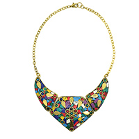 MNA-112,Multed Lakh Gold Plated with Cut Glass Necklace a