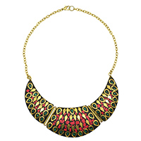 MNA-113,Multed Gold Plated Red & Green with Cut Brass Polish Necklace a