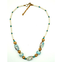 MNA-117B,White Multed Marble Necklace with Rose Gold a