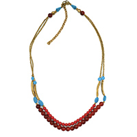 MNA-118,Coral & Turquise Glass 2 Rows Necklace with Rose Gold a