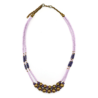 MNA-119,Multed Light & Dark Amethyst 2 Rows Necklace with Rose Gold a