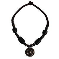MNA-120,Horn Bone Brown Patwa Silver and Trible Risen Pandle Necklace-a