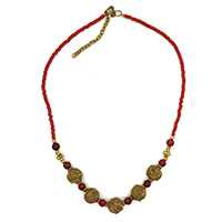 MNA-121A,Coral Necklace with Rose Gold Metal a