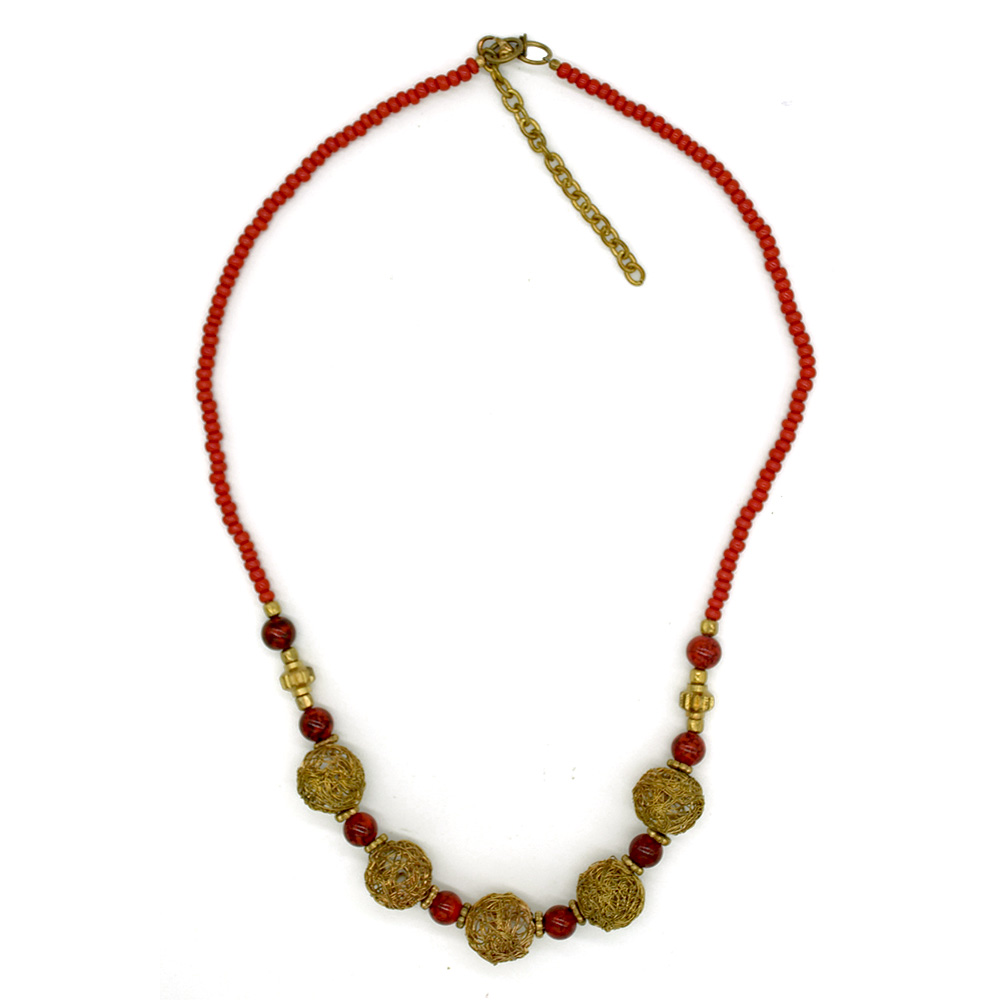 Coral Necklace with Rose Gold