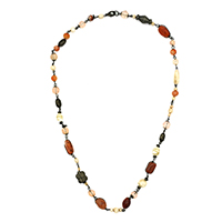 MNA-122A,Multed Long Stone Necklace with Black Oxidised a