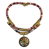 MNA-130,Cotton Fabric Multed Print Lakh Brass Necklace-a