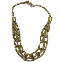 MNA-134,Braid Beaded Silver Oxidised Necklace,Nickel Free-a