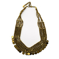 MNA-136A,Queen 6 Rows Gold Oxidised Necklace With Small Coins,Nickel Free-a