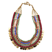 MNA-137,Queen Multed Glass 6 Rows Copper Oxidised Necklace with Small Coins,Nickel Free-a