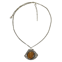 MNA-156,Tiger Stone Sajai Silver Oxidised Long Chain Necklace,Nickel Free-a