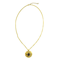 MNA-158,Black Onyx Stone Round Gold Oxidised Long Chain Necklace,Nickel Free-a
