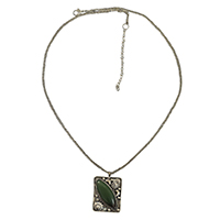 MNA-159,Emerald Stone Long Chain Necklace,Nickel Free-a