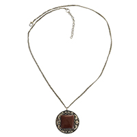 MNA-160,Garnet Stone Long Chain Necklace,Nickel Free-a