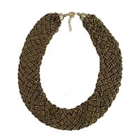 MNA-163,Gold Glass Beads Gold Oxidised Necklace,Nickel Free-a