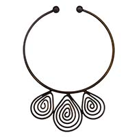 MNA-164,Baloon Wire 3 Piece Round Wire Brass Oxidised Necklace,Nickel Free1-a