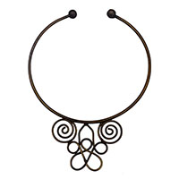 MNA-166,Round Wire Brass Oxidised Necklace,Nickel Free1-a