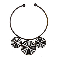MNA-167,Round Wire 3 Piece Round Wire Brass Oxidised Necklace,Nickel Free1-a